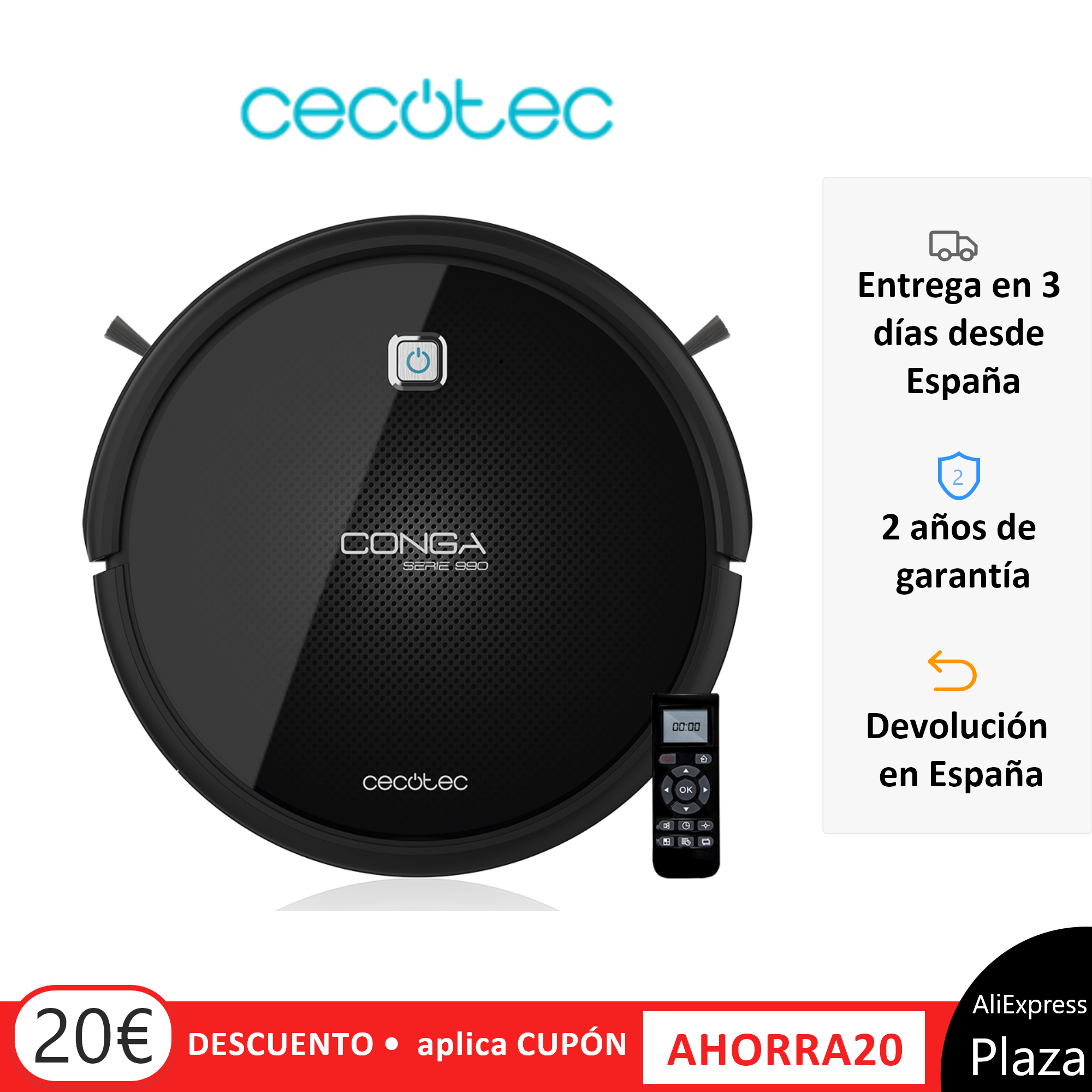 Cecotec Robot Vacuum Cleaner Conga 1090. Aspirate, Sweep, Scrub and pass the Mopa. Special Pet Brush, 160 min Autonomy, Robot Vacuum, Cordless Vacuum, Robot Cleaning image