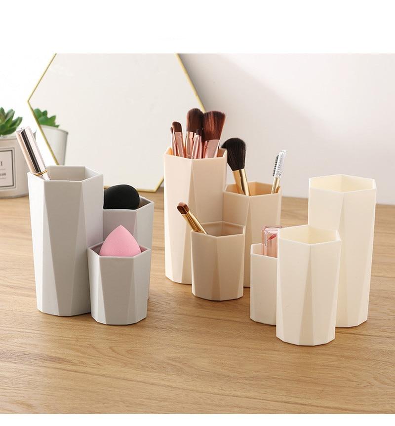 3 Lattices Cosmetic Make-up Brush Storage Box Table Organizer Makeup Nail Polish Cosmetic Holder Make Up Tools Pen Holder Rack