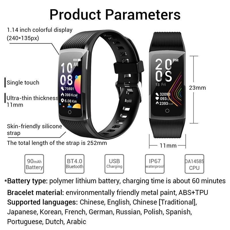 H62cb9d8a9d6545c6b423e6079117cfabJ R12 Smart Band Bracelet Fitness Bracelet with Pressure Measurement Health Wristband Pedometer Heart Rate Monitor Cardio Bracelet