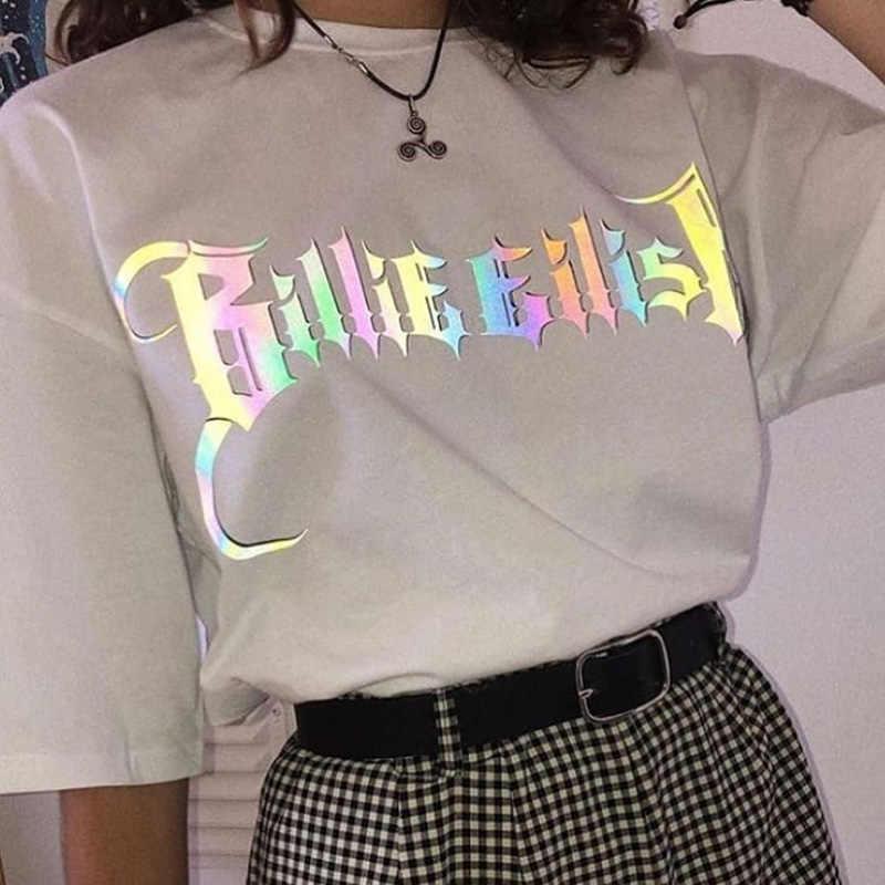 Nova harajuku camiseta feminina billie eilish impressão de manga curta topos & t moda casual camiseta roupas femininas streetwear