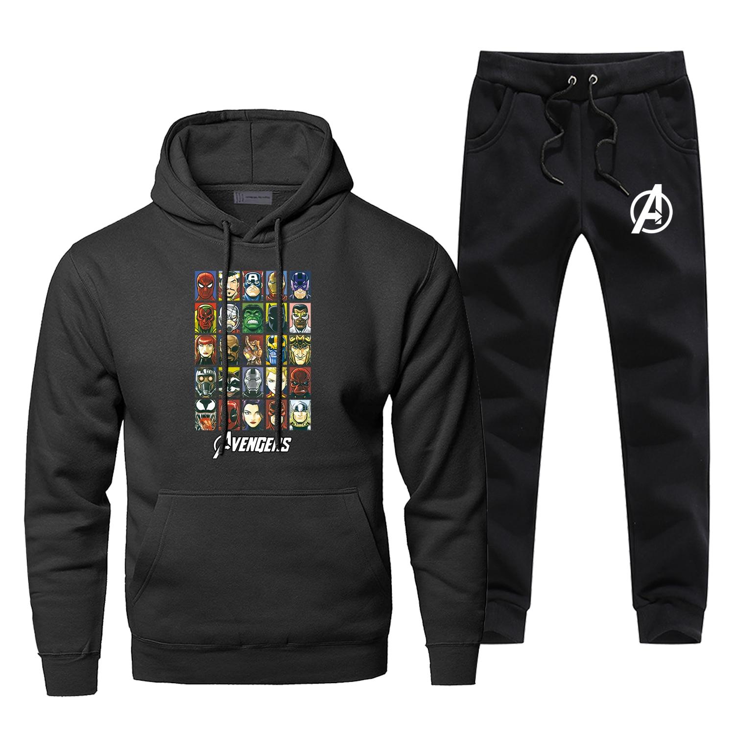 The Avengers Hoodies Pants Suit Men Sets Two Piece Set Tops Pant Sweatshirt Sweatpants Sportswear Spring Autumn 2 PCS Tracksuit