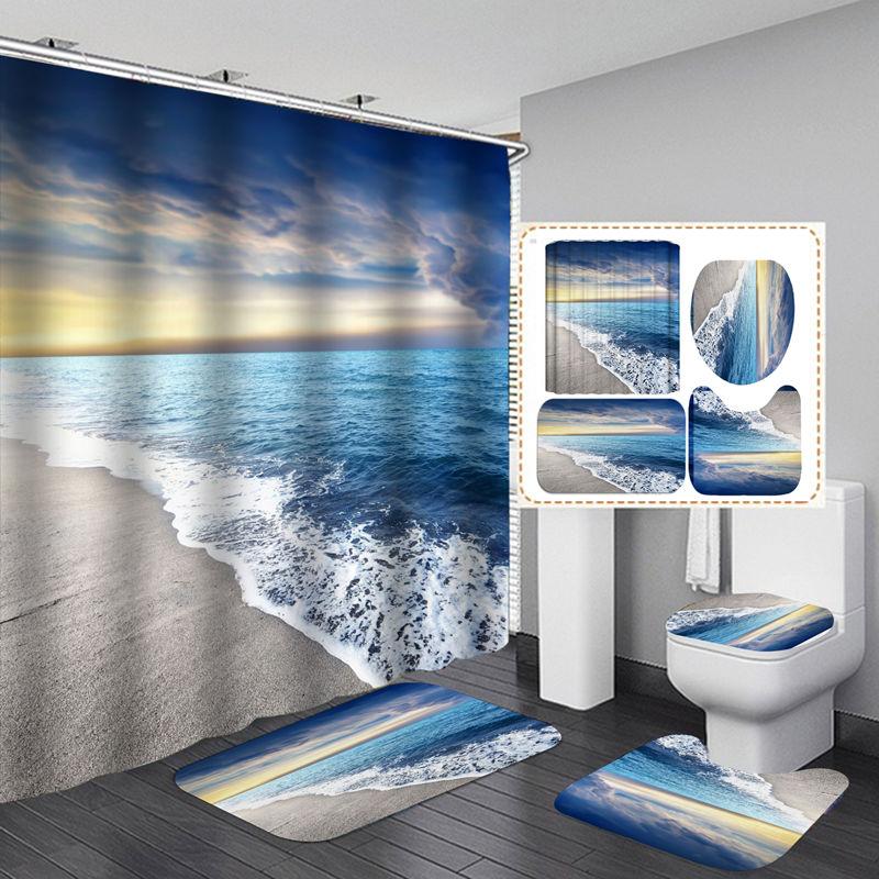 Фланелевый коврик для ванной с рисунком Морского Пейзажа, тканевая занавеска для душа с 12 крючками, декоративный Комплект для дома и ванной ...