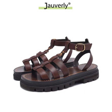 Sandálias de plataforma plana vintage marrom feminino sandálias de praia de verão de 2021 sapatos femininos designer gladiador corte aberto sapatos femininos