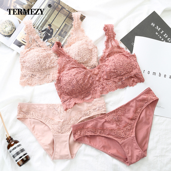цена на TERMEZY Women Sexy Lingerie push up Lace Underwear Panties Jacquard Sexy Bra & Brief Sets Thin breathable Brassiere Black