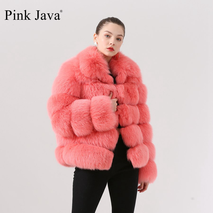 Pink Java QC19031  New Arrival Real Fox Fur Coat Women Fur Jacket Hot Sale Fashion Fur Coat Luxury Thick Fur Winter