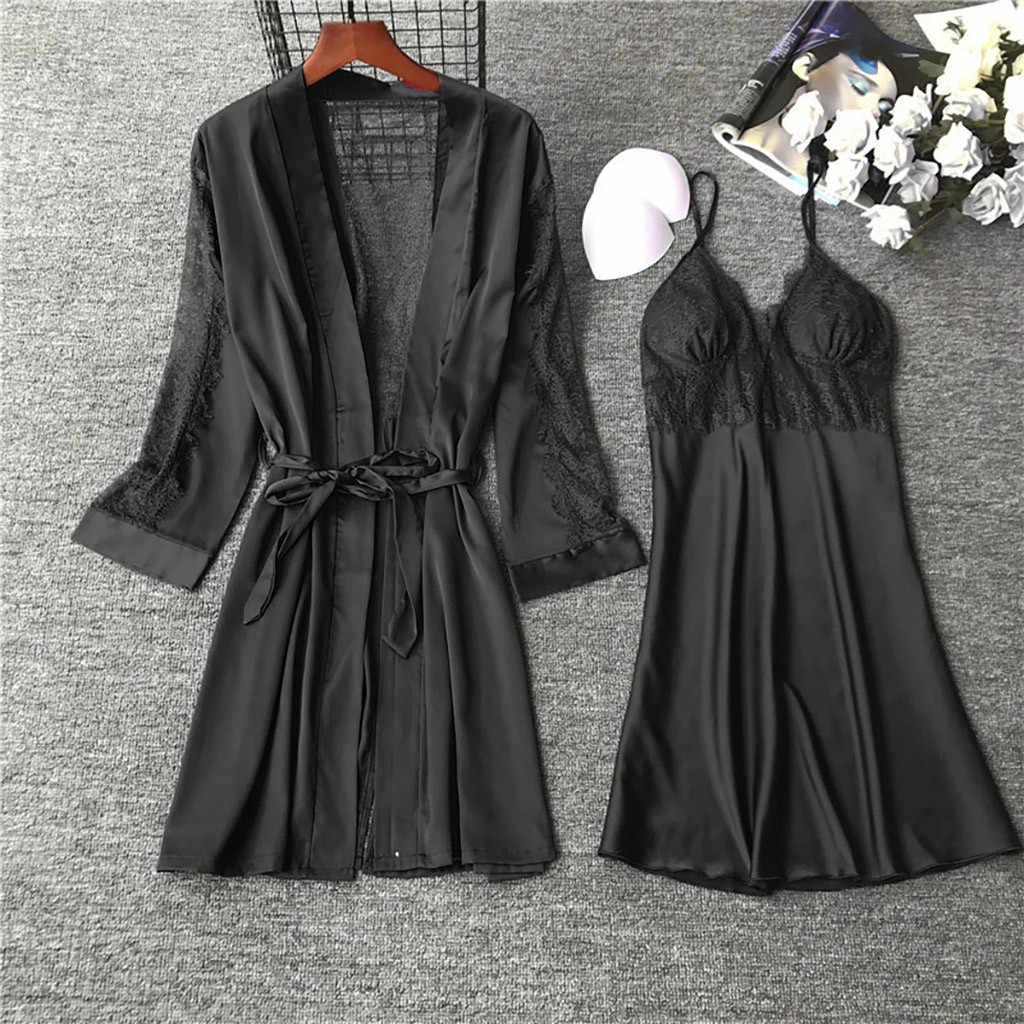 حجم كبير S-3XL النساء منامة مجموعات الساتان ملابس خاصة الحرير 2 قطعة نوم بيجامة السباغيتي حزام الدانتيل النوم صالة بيجامة # W