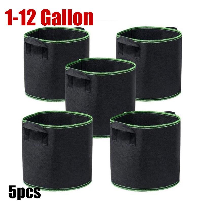 5 pçs 1 3 5 10 galões de tecido planta crescer sacos potes de cultivo árvore jardim vegetal batata flor plantio recipiente berçário potes saco