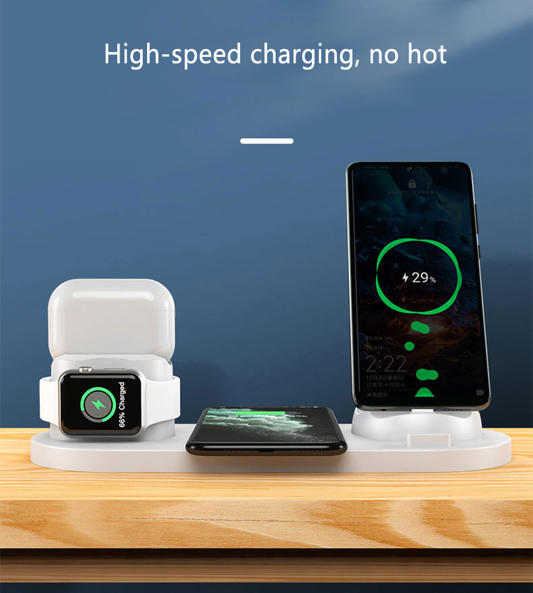 6 in1 10W Wireless Charger Stand Dock for iPhone 11 Pro Xs Max 8 X Fast Wireless Charging for Apple Watch 5 4 3 2 Airpods Pro 2