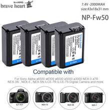 4pcs 2000mah NP-FW50 NP FW50 Battery AKKU For Sony NEX-3N NEX-5 NEX-5N NEX-5R Alpha a5000 a6500 DSC-RX10 Alpha a7S a7II Alpha 7R cheap brave heart Camera Standard Battery 7 4v