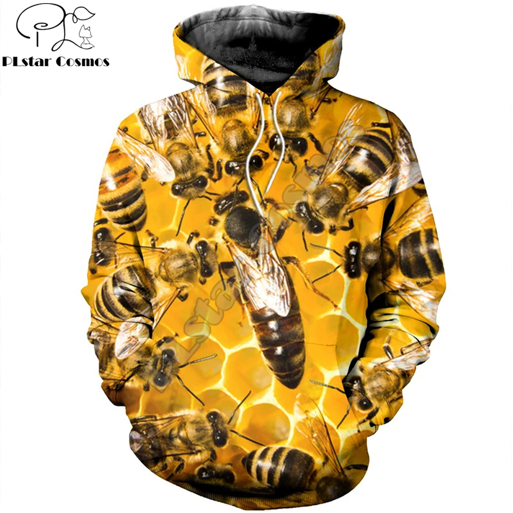 3D Printed Bee Keeper Hoodie and Sweatshirt Pure Raw Honey Harajuku Fashion Men hoodies Unisex Casual Jacket pullover DW0003