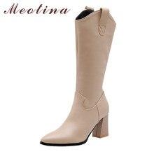 Meotina 가을 서양 부츠 여성 지퍼 Chunky 하이힐 무릎 높은 부츠 지적 발가락 긴 신발 레이디 겨울 대형 33 46