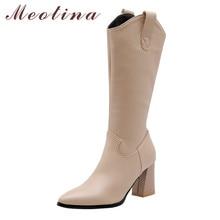 Meotinaฤดูใบไม้ร่วงWestern Bootsผู้หญิงซิปChunkyรองเท้าส้นสูงเข่าสูงรองเท้าPointed Toeรองเท้ายาวเลดี้ฤดูหนาวขนาดใหญ่ 33 46