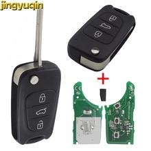 Jingyuqin zdalny składany kluczyk samochodowy Shell pasuje do Kia K2 K5 Sportage Hyundai I20 I30 IX35 Avante 433Mhz ID46 Chip 3 przyciski tanie tanio CN (pochodzenie) For HYUNDAI I30 IX35 For Kia K2 K5 key shell replacement Hardware china key case