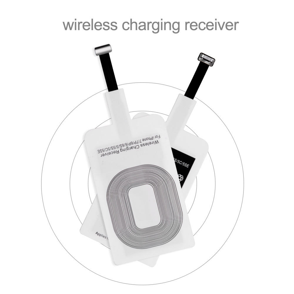 For Samsung Qi Wireless Charger Receiver For Iphone 5s 7 6 Plus Universal Wireless Charging Receiver For Micro Usb Type c Phone in Mobile Phone Chargers from Cellphones Telecommunications