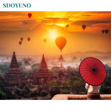 SDOYUNO Frameless 60X75cm Painting by numbers On Canvas diy Red umbrella Home Decor paint by numbers Digital Painting(China)