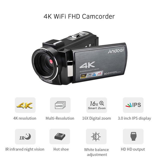 Andoer 4K WiFi DV Recorder Digital Video Camera Camcorder 30MP 16X Digital Zoom with Batteries Wide Angle Lens Microphone 5