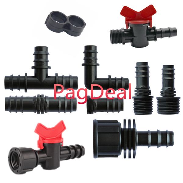 10pcs 13mm 16mm Barbs Connectors 16PE Pipe Garden Agriculture Irrigation Elbow Bend Tee Straight Joiner Connector Faucet Valve image
