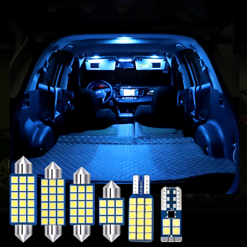 6pcs 12v Car LED Bulb Auto Interior Dome Reading Lamps Trunk Lights For <font><b>Toyota</b></font> <font><b>RAV4</b></font> 2009 <font><b>2010</b></font> 2012 2013 2014 2015 2016 2017 2018 image