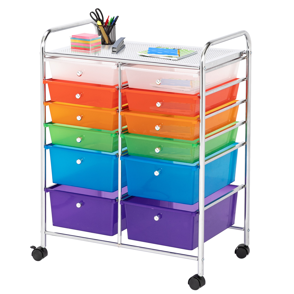 Multi-Color 15/12/10/6/4 Drawers Rolling Organizer Cart Craft Utility Mobile Trolley Plastic Storage Drawers Divider Cabinet