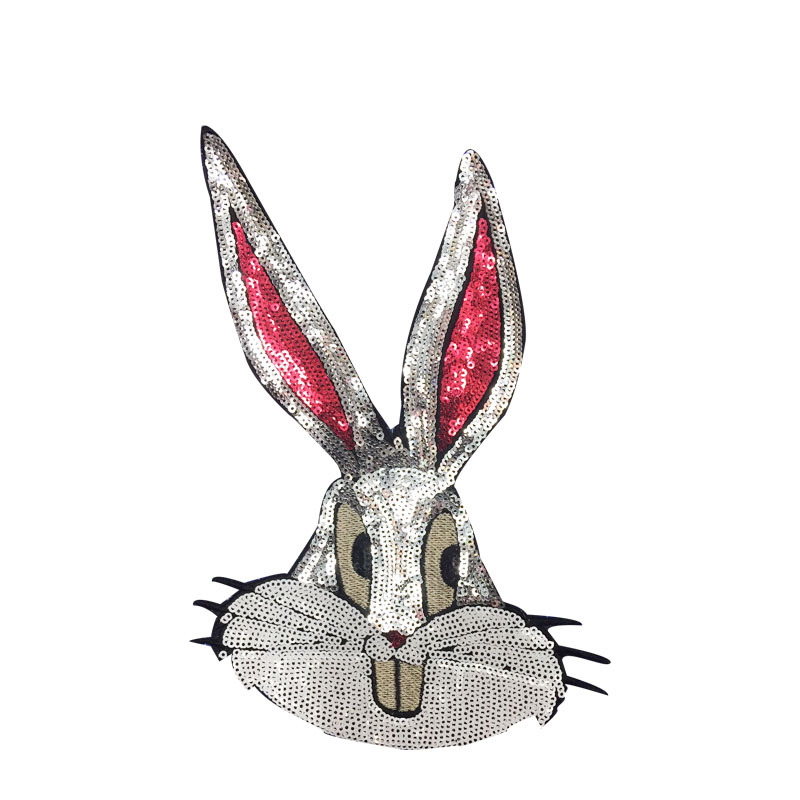 1 Pcs Cute Bugs Bunny Fashion Sequin Pattern Big Patch, Applied Clothing Coat And T-shirt DIY Decoration Patches