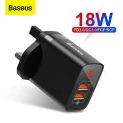 Baseus UK Plug szybka ładowarka 18W USB C ładowarka pd szybkie ładowanie 3.0 podwójna ładowarka do portów usb z cyfrowym wyświetlaczem do smartfona w Ładowarki do telefonów komórkowych od Telefony komórkowe i telekomunikacja na