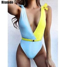 Riseado Sexy Plunging One Piece Swimsuit Belted Swimwear Women Ruffle Beach Wear Patchwork Bathing Suit 2021 Summer Bath Suits