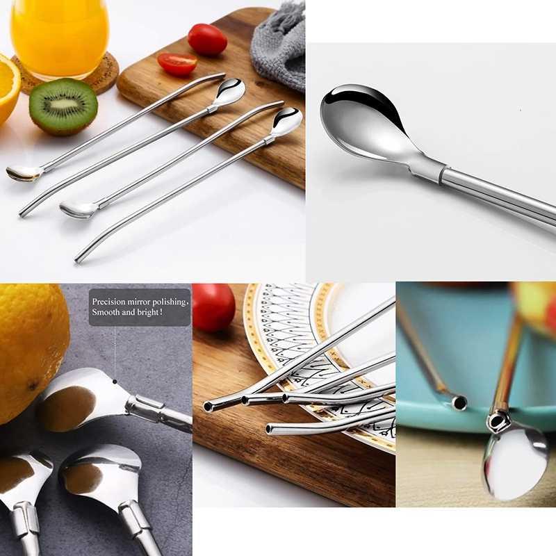 Reutilizable cuchara beber pajitas valor paquete de 6 piezas con 2 cepillo limpio de paja cuchara de 7,5 pulgadas de largo para vasos de 20Oz
