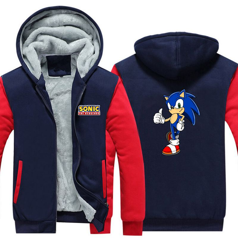 New Game Sonic The Hedgehog Thicken Hoodie Sweatshirts Cosplay Costume Anime Winter Warm Coat Hooded Men Clothing