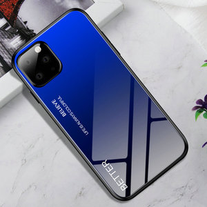 Image 4 - 100pcs/lot For iPhone 11 Pro Max Hard Tempered Glass Marble Gradient Back Soft Side Case For iPhone 11