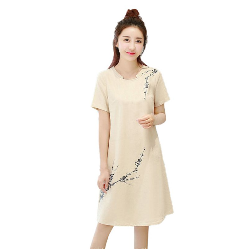 Elegant Summer Women Dress Short Sleeve O Neck Print Dress Floral Ladies Sundress Rk #E