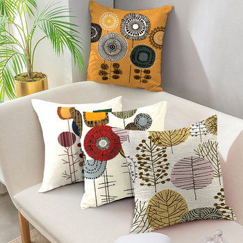 Fuwatacchi Cushion Cover Linen Printed for Chair Pillow Covers Decoration Home Sofa Throw PillowCases 45cmX45cm fuwatacchi floral cushion cover feather leaves gold pillow cover for decor sofa chair square decorative pillowcases