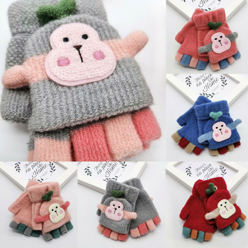 New Arrival Winter Warm Child Kids Girl Boy Thick Fur Knit Gloves Neck String Mittens Children'S Woolen Monkey Gloves
