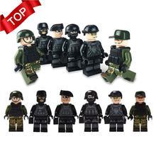 Новинка, 12 шт., военные солдатики спецназа, кирпичи, фигурки-пистолеты, оружие, совместимые с Legoings Armed SWAT, строительные блоки, детские игрушки