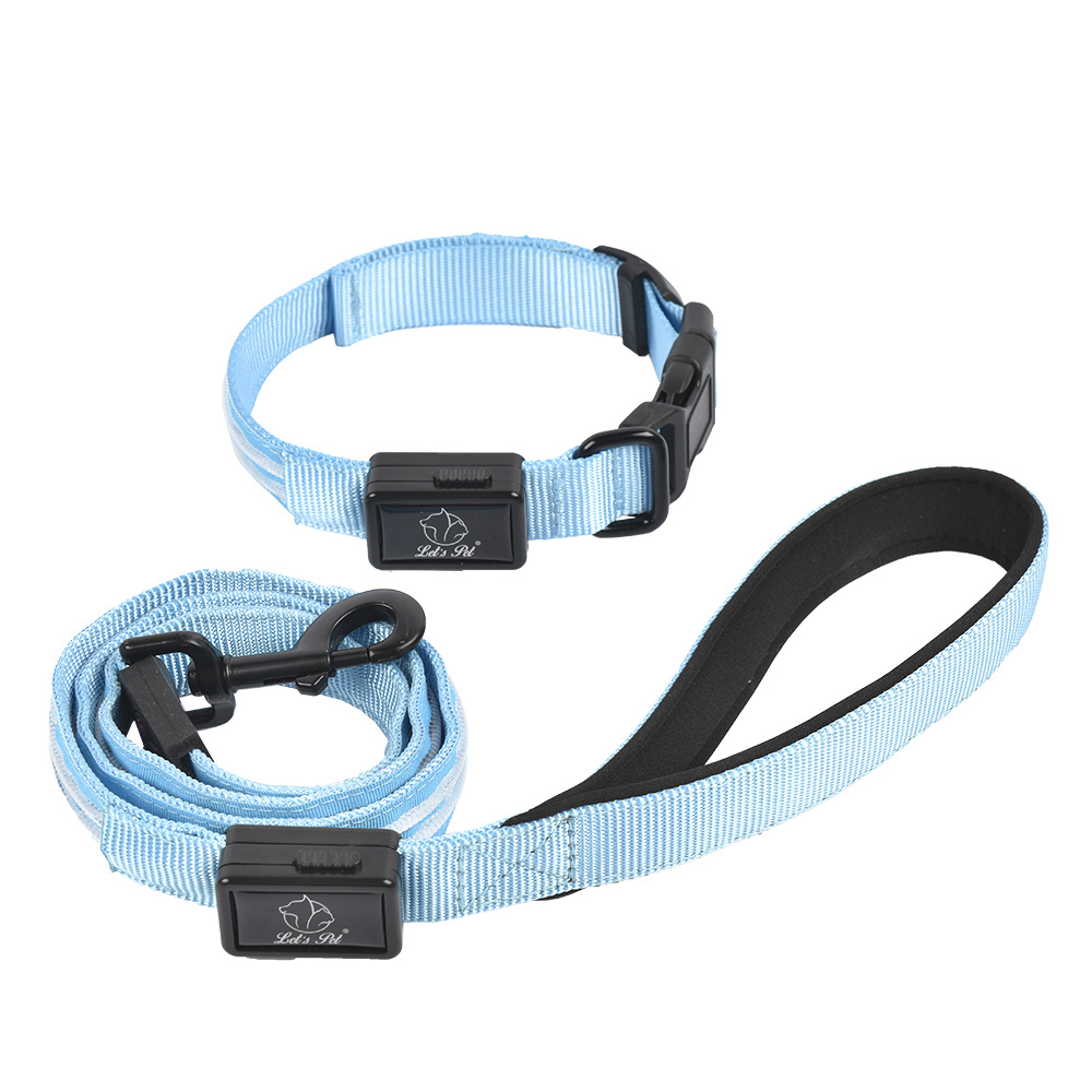 Dual Fiber Shining Traction Set Pet Collar Hand Holding Rope Nylon Traction Sling Set Dog Supplies