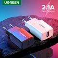 Сетевое зарядное USB-устройство Ugreen  для iPhone X 8 7  iPad  Samsung S9  Xiaomi Mi 8  5 В 2 1 А  быстрая зарядка  переходник стандарта ЕС  зарядка для телефонов