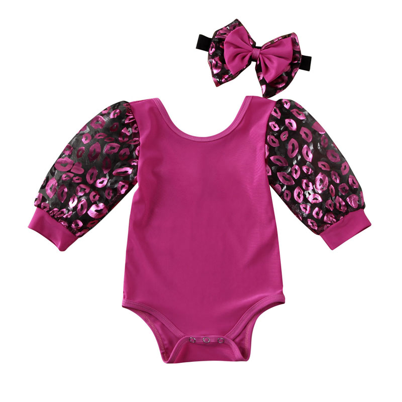 Pydcoco US Stock 2Pcs Newborn Baby Girl Clothes Print Love Valentine's Day Bodysuit Long Puff Sleeve Cotton Jumpsuit Outfit