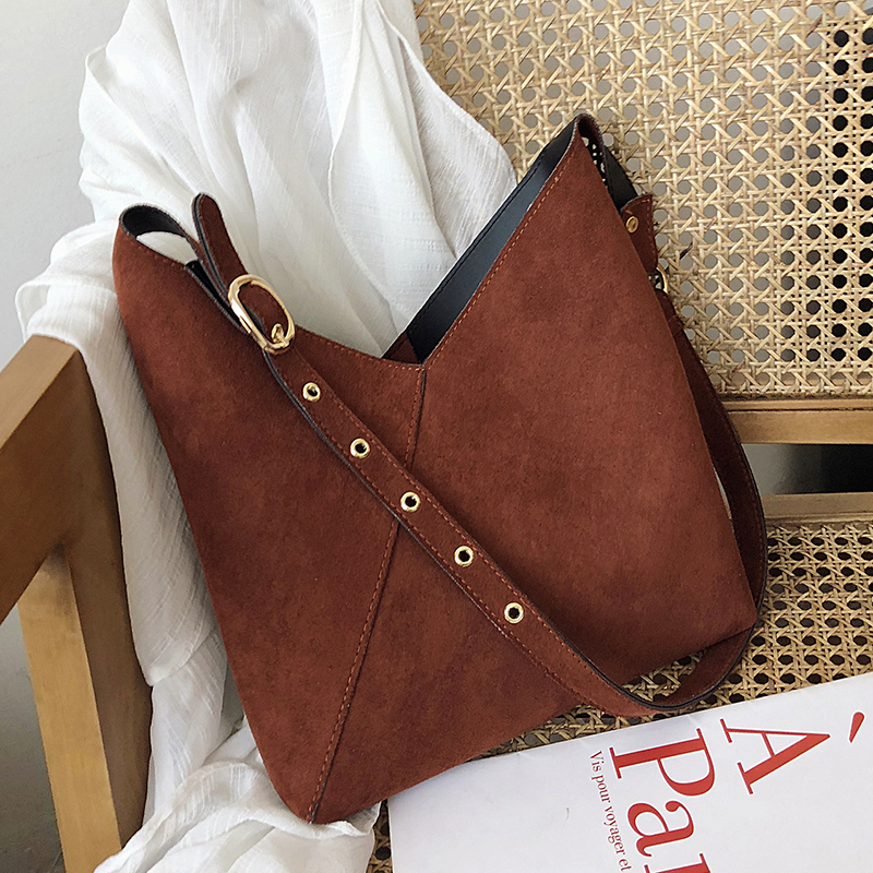 Scrub Leather Bucket Bags For Women 2020 Small Shoulder Messenger Bag Lady Solid Color Crossbody Bags Handbags
