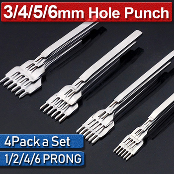 4Pcs Spacing Leather Prong Punch Tool 1/2/4/6 Prong Iron Leather Hole Punches 3/4/5/6mm Stitching Sewing Leather Craft Tools D30 spacing compass leather craft rotating sewing handmade tool wing divider spacing compasses edge creaser tools