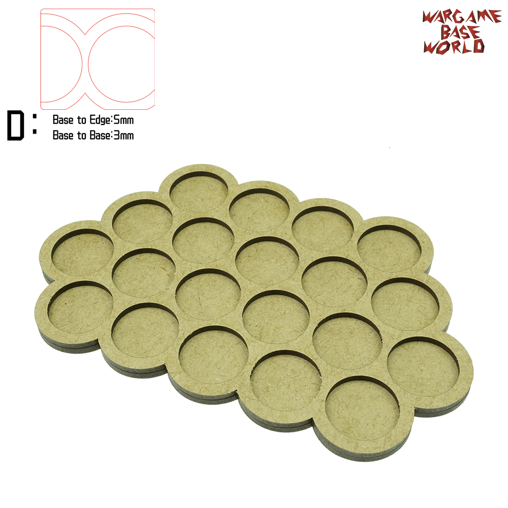 Wargame Base World - Movement Tray - 20 Bases 25mm Round - Triple Derangements  Shape MDF