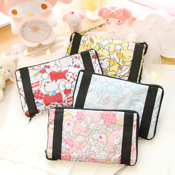 Cartoon Women Hello Kitty My Melody Cinnamoroll Dog Pom Pom Purin Portable Foldable Luggage Bag Travel Bags Trolley bag