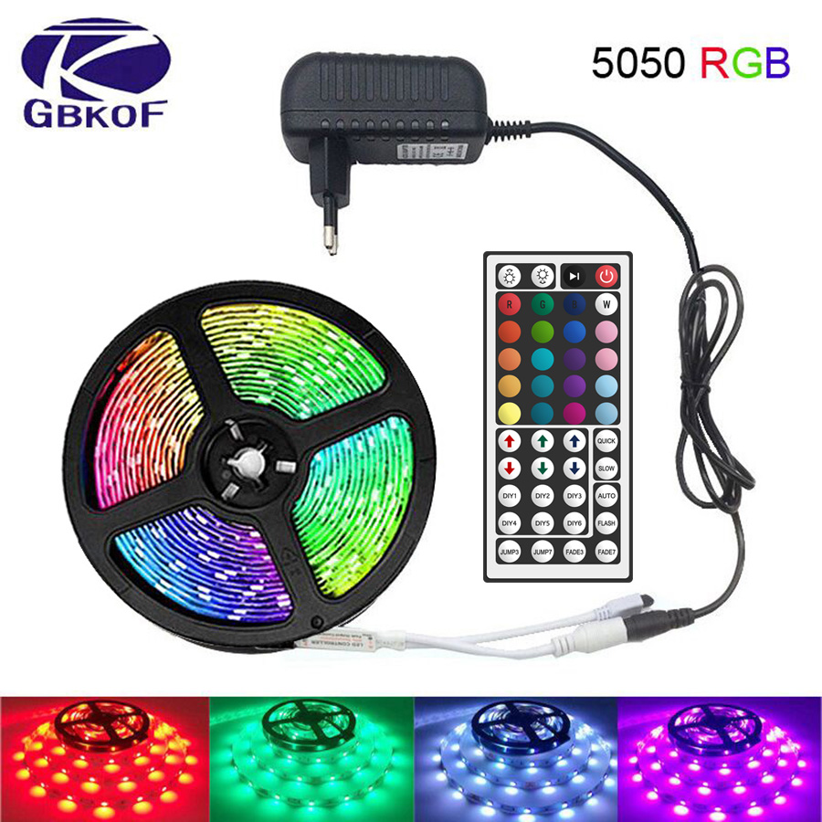 Fita de luz LED com Controle Remoto 5050, Fita LED Flexível DC12V rgb, cinta de 5m, 10m e 15m, tira para casa, cozinha, festa de natal em dezembro