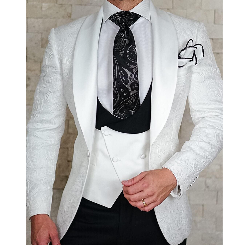 White Floral Wedding Tuxedo for Groom 3 Piece Slim Fit Double Breasted Waistcoat Jacket with Black Pants Male Fashion Costume