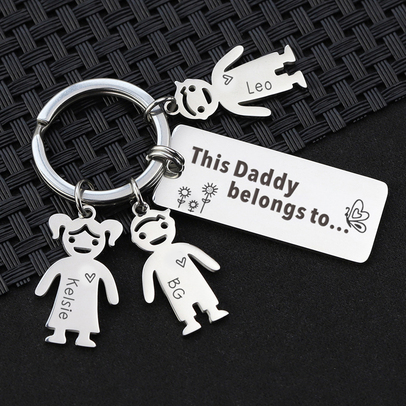 Personalised Wooden Keyring Superhero Daddy Dad Grandad Gifts Fathers Day Birth