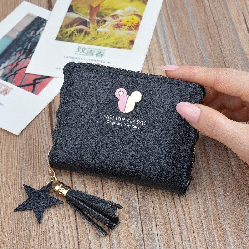 Disney Mickey mouse petit portefeuille dame courte fermeture éclair gland clé porte-monnaie étudiant petit mini portefeuille Minnie porte-carte pochette