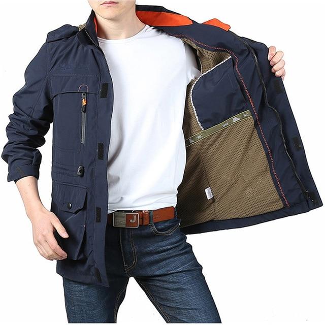 DIMUSI Men's Jackets Casual Outwear Hiking Windbreaker Hooded Coats Fashion Army Cargo Bomber Jackets Mens Clothing 3