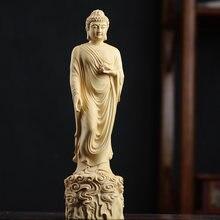 Bukszpan 20cm Amitabha rzeźba buddy rzeźbione w drewnie siakjamuni statua kultu Home Decor