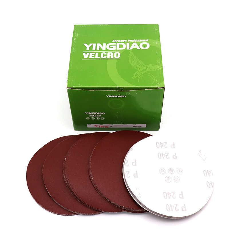10 Pcs 5 Inch/6 Inci 125 Mm 150 Mm Putaran Amplas Disk Pasir Lembar Grit 80-1000 hook dan Loop Sanding Disc Bahasa Polandia Pasir Lembar