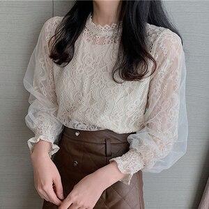 Женская кружевная блузка с рукавами-фонариками, ажурная рубашка в Корейском стиле, весна-осень