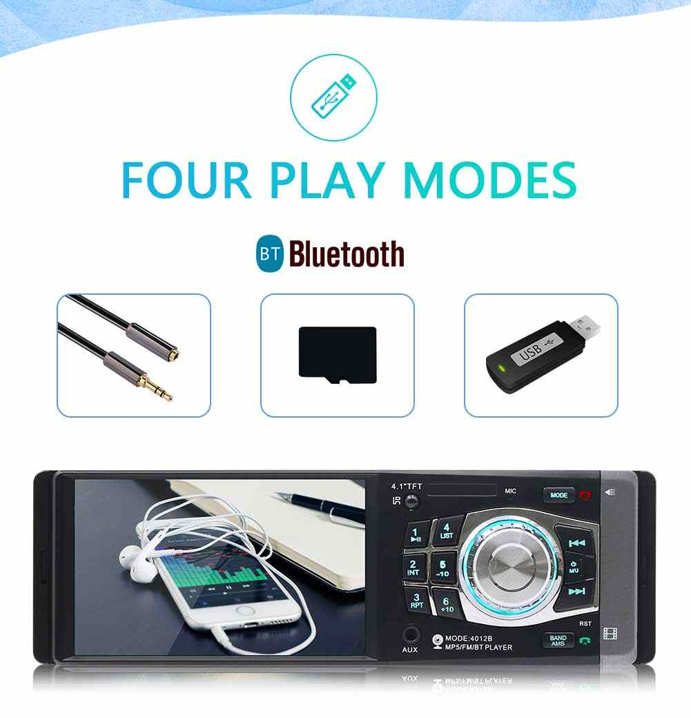 Autoradio 4012B 1Din 12V Auto Radio 4,1 zoll HD MP5 Auto Video Player Bluetooth FM AUX USB TF Unterstützung lenkrad-steuerung