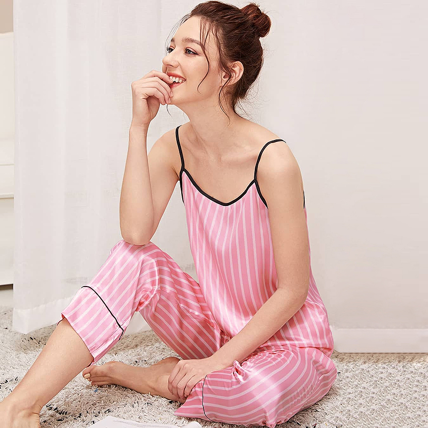 Suphis Pink Vertical Striped Summer Woman Pajamas Set Spaghetti Strap 2 Piece Set Women Lounge Wear Night Suits Ladies Pants